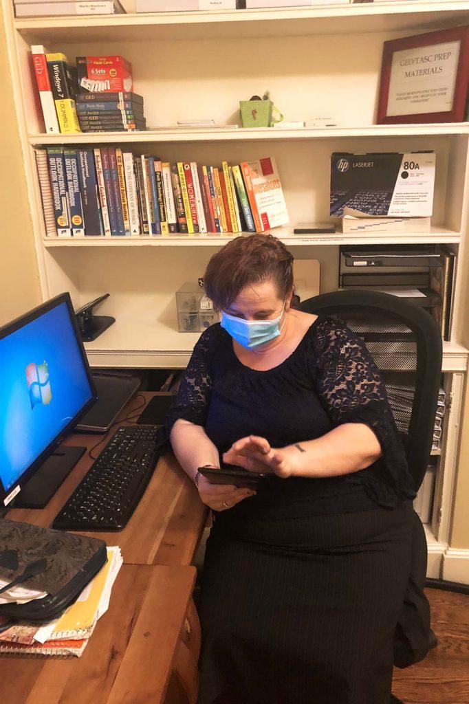 Cathy at computer